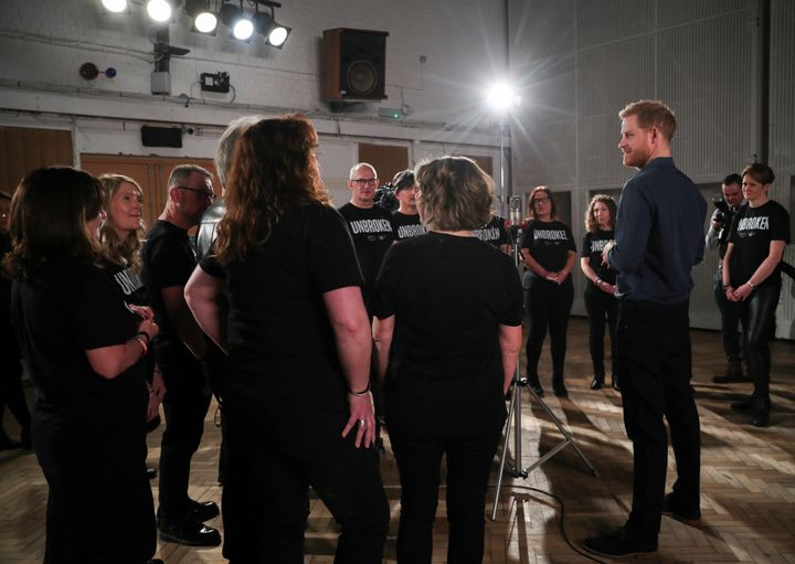 Harry met members of the Invictus Games Choir as they recorded a single for the Invictus Games Foundation