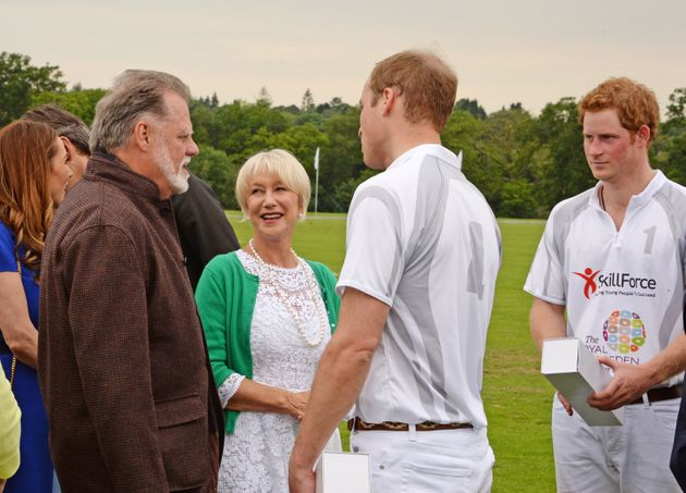 Taylor Hackford, Dame Helen Mirren and Princes William and Harry at the Audi Polo Challenge in
