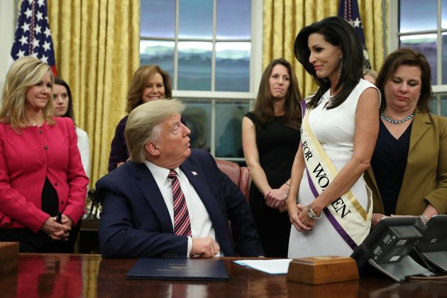 President Donald Trump speaks after signing the Women's Suffrage Centennial Commemorative Coin Act on...