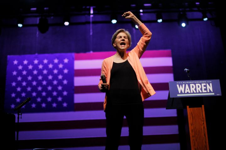 Democratic 2020 U.S. presidential candidate and U.S. Senator Elizabeth Warren (D-Mass.) speaks at a campaign Get Out the Vote
