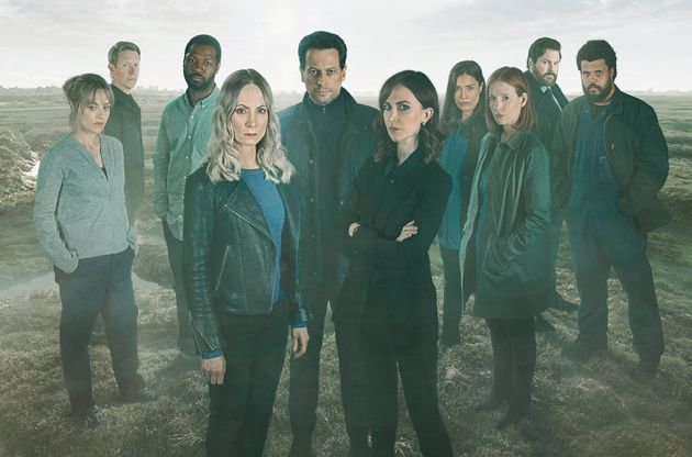 L-R: Zoe Tapper as Katy Sutcliffe, Sam Spruell as Oliver Graham, Richie Campbell as Liam Sutcliffe, Joanne...