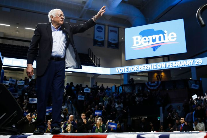 Bernie Sanders waves during a campaign event, Feb. 27, 2020, in Spartanburg, S.C.