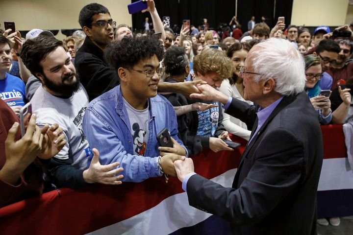 Bernie Sanders greets supporters after speaking at a campaign event, Wednesday, Feb. 26, 2020, in North Charleston, S.C.&nbsp