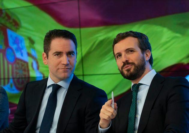 García Egea y Casado, en la sede del