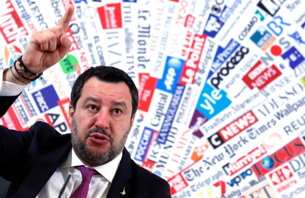 Matteo Salvini, leader of Italy's far-right Lega Party, gestures during a news conference in Rome on...