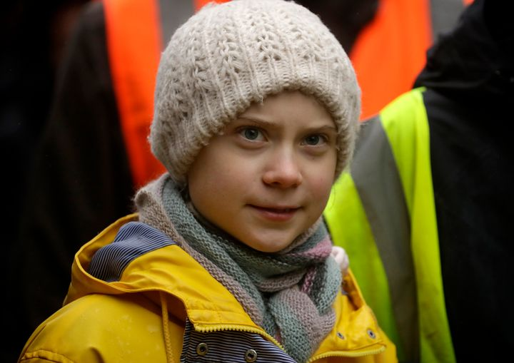 Climate activist Greta Thunberg marches in a school strike climate protest in Bristol in southwest England on Feb. 28, 2020.
