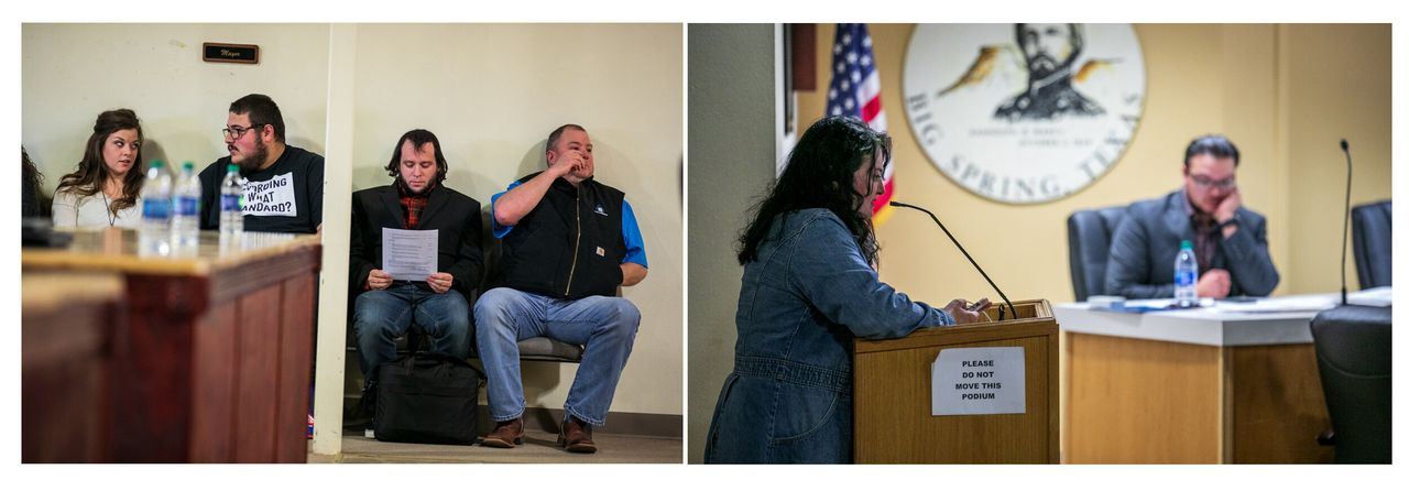 Left: Mark Lee Dickson waits his turn to speak at the Big Spring city council meeting. Right: Stephanie Vela Anderson begs the council to defeat the measure.
