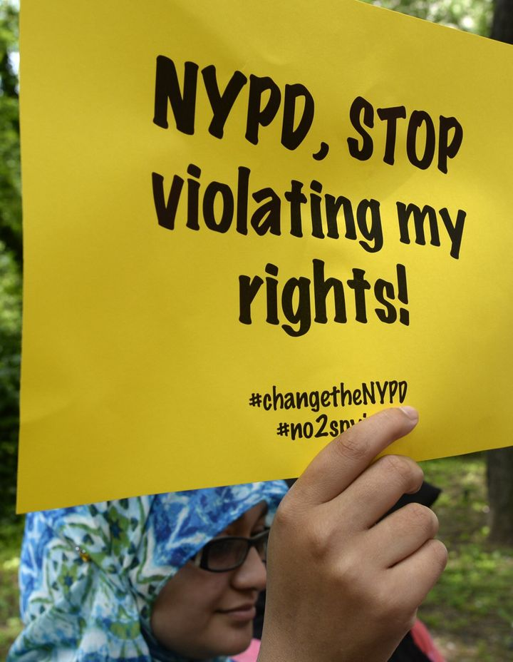 Civil rights and legal advocates hold a press conference in June 2013 to discuss legal action challenging the New York Police