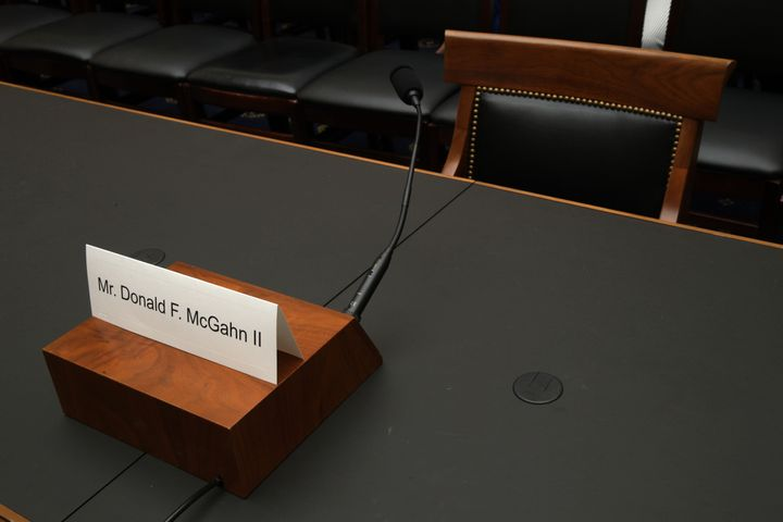 A name plate for McGahn sits on the witness table prior to a House Judiciary Committee hearing in which he was subpoenaed to