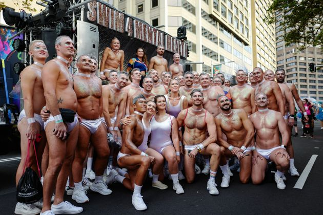 Participants prepare before in Hyde Park ahead of the 2020 Sydney Gay & Lesbian Mardi Gras Parade...