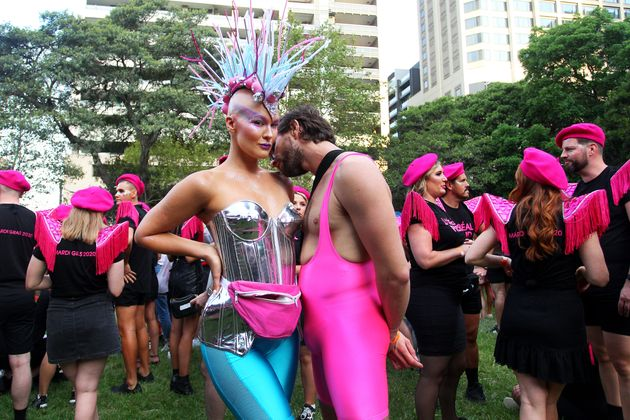 Parade goers gather in Hyde Park during the 2020 Sydney Gay & Lesbian Mardi Gras Parade on February...