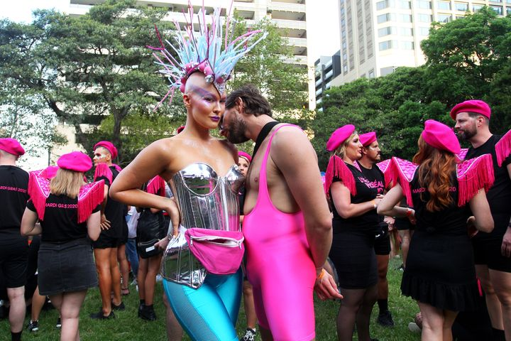 Parade goers gather in Hyde Park during the 2020 Sydney Gay & Lesbian Mardi Gras Parade on February 29, 2020 in Sydney, Australia.