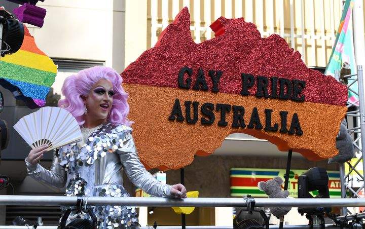 Participants prepare before in Hyde Park ahead of the 2020 Sydney Gay & Lesbian Mardi Gras Parade on February 29, 2020 in Sydney, Australia.