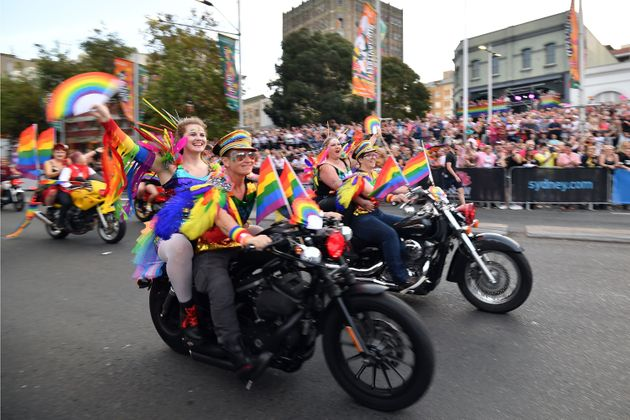 People participate in a motorcycle rally during the annual Gay and Lesbian Mardi Gras parade in Sydney...