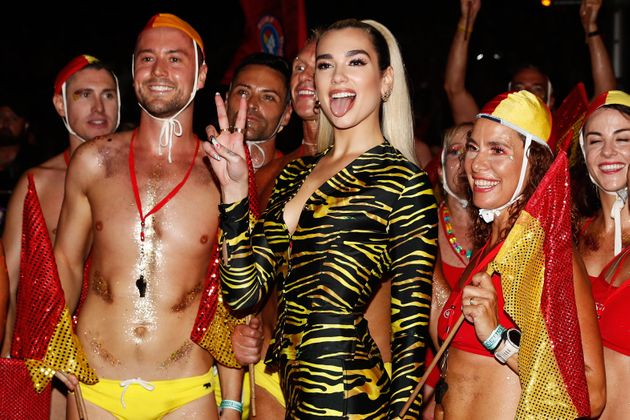 Dua Lipa poses for a photo during the 2020 Sydney Gay & Lesbian Mardi Gras Parade on February 29,...