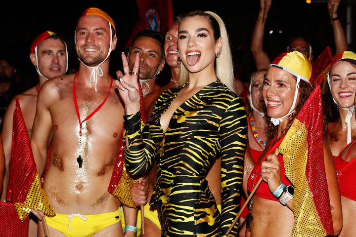 Dua Lipa poses for a photo during the 2020 Sydney Gay & Lesbian Mardi Gras Parade on February 29, 2020 in Sydney, Australia.
