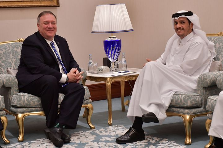 Secretary of State Mike Pompeo, left, met with Qatar's Foreign Minister Sheikh Mohammed bin Abdulrahman Al Thani before a pea
