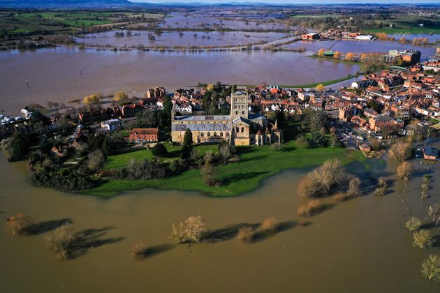 Tewkesbury Abbey, at the confluence of the Rivers Severn and Avon, is surrounded by flood waters on February