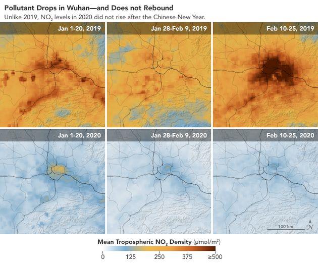 Polución en Wuhan en 2019 y en