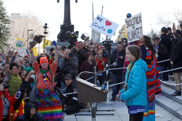 Greta Thunberg speaks during a climate strike at the Alberta Legislature in Edmonton on Oct. 18,