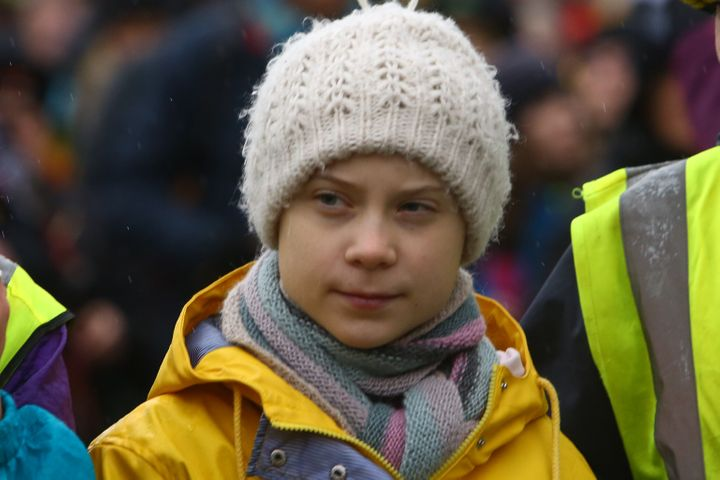"""Greta Thunberg takes part in a """"Youth Strike 4 Climate"""" protest in Bristol, England on Feb. 28, 2020."""