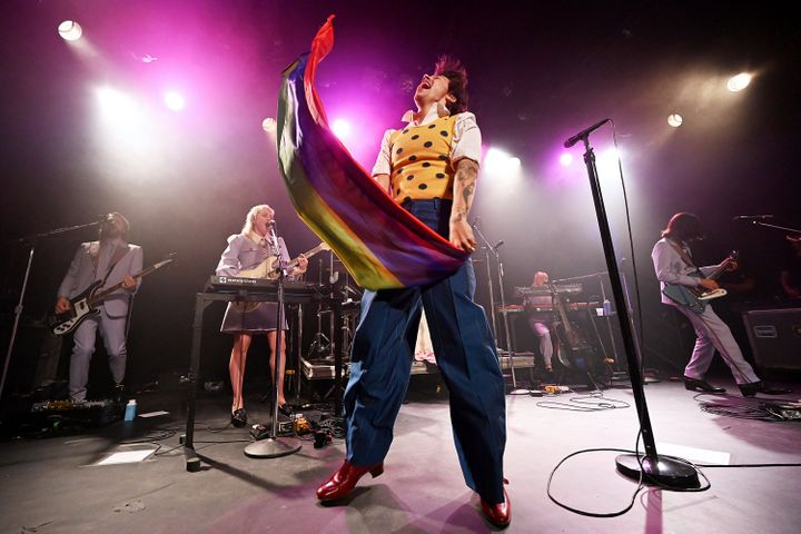 "Styles dug into his back catalog to perform One Direction's ""What Makes You Beautiful,"" after which he waved a rainbow LGBTQ"