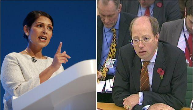 Left, Priti Patel and, right, her former top civil servant Philip Rutnam, who has