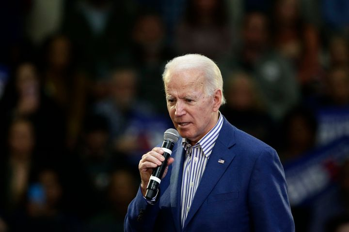 Democratic presidential candidate former Vice President Joe Biden speaks at a campaign event at Saint Augustine's University