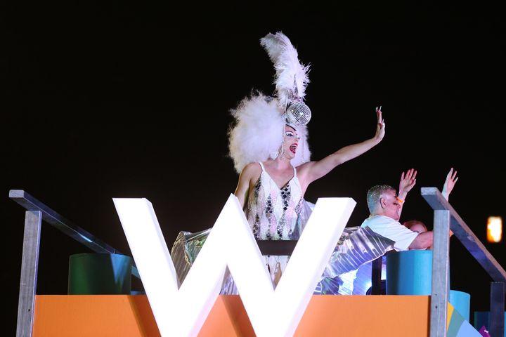 Alyssa Edwards celebrates during the 2020 Sydney Gay & Lesbian Mardi Gras Parade on February 29, 2020 in Sydney, Australia.Brendon Thorne via Getty Images