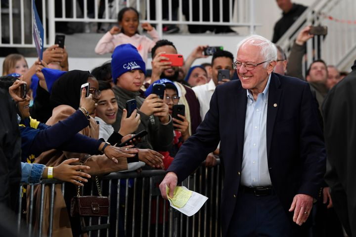 Democratic presidential candidate Sen. Bernie Sanders arrives to speak during a campaign rally in Springfield, Virginia, on S