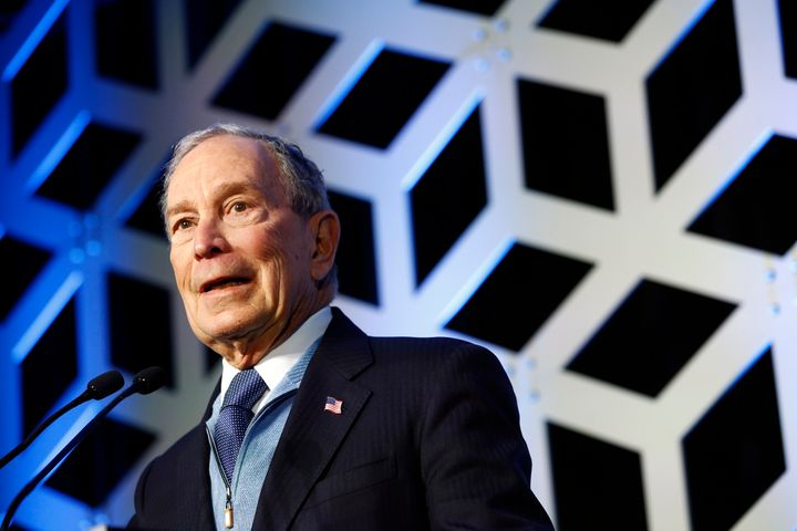 Democratic presidential candidate Mike Bloomberg speaks at the North Carolina Democratic Party's Blue NC Celebration on Satur