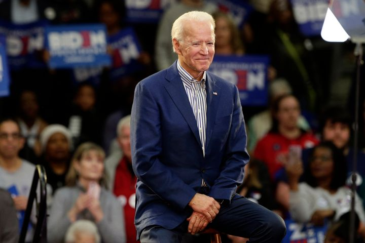 Democratic presidential candidate former Vice President Joe Biden smiles at supporters during a campaign event at Saint Augus