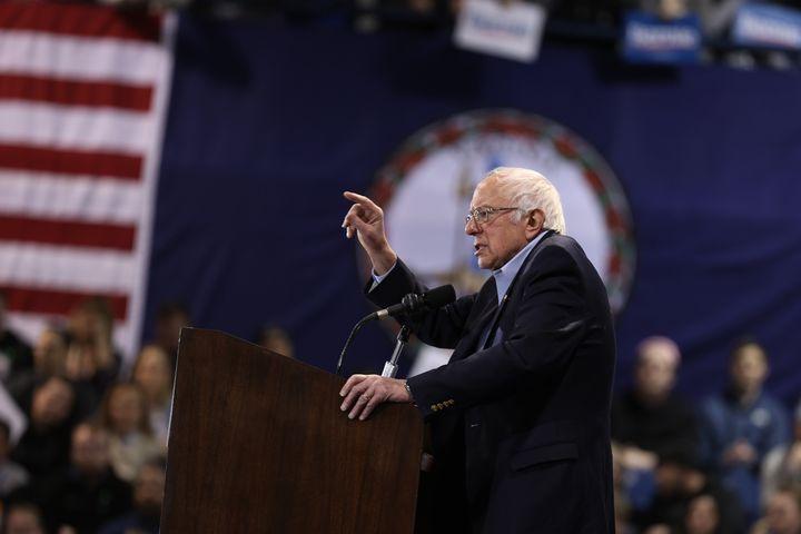 Sen. Bernie Sanders (I-Vt.) speaks at a rally in Virginia Beach, Virginia, on Saturday. After a big loss in South Carolina, S