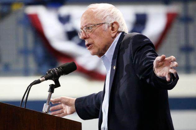 Bernie Sanders gestures during a campaign rally in Virginia