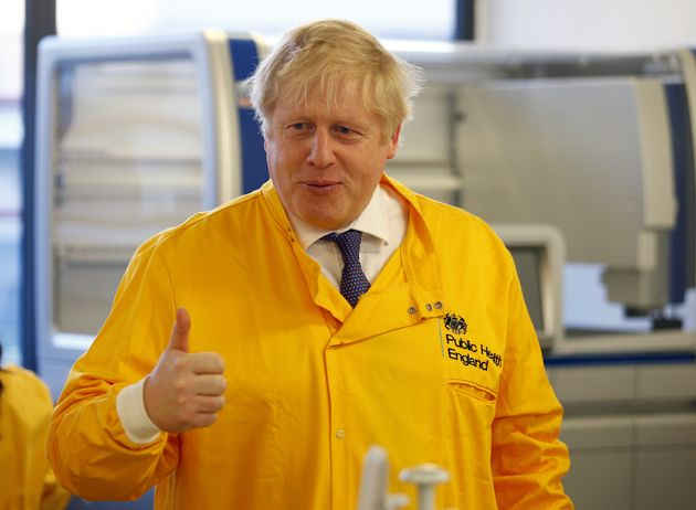 Boris Johnson visits a laboratory at the Public Health England National Infection Service in north