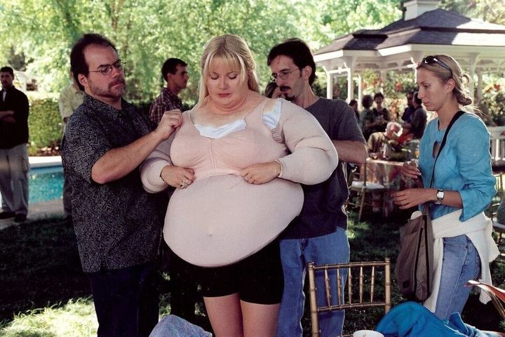 "Paltrow putting on her fat suit for ""Shallow Hal."""