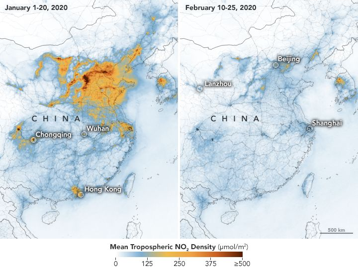 Nitrogen dioxide levels have significantly decreased in China amid the new coronavirus outbreak, according to researchers who pointed to massive quarantines and manufacturing slumps as partial reasons behind the drop.