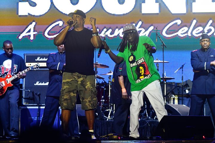 Chuck D and Flavor Flav perform together at the National Museum of African American History and Culture in 2016.
