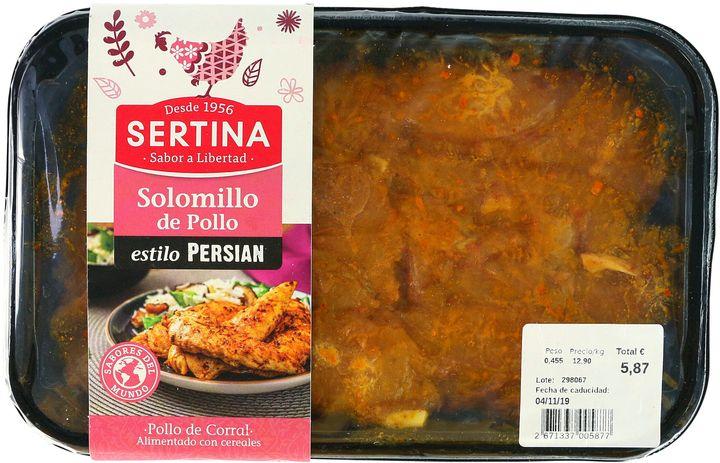 Bandeja de filetes de solomillo de pollo de Sertina.