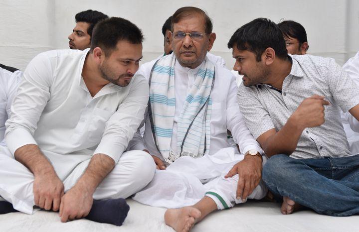 RJD leader Tejashwi Prasad, Loktantrik Janata Dal leader Sharad Yadav, Former JNU students union (JNUSU) president Kanhaiya Kumar in a file photo