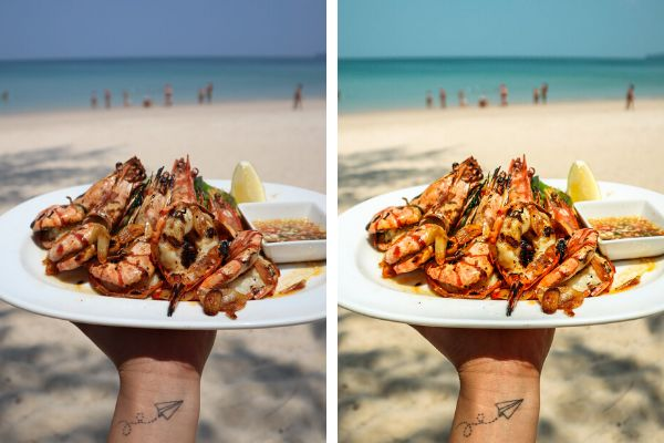 Jen Balisi's before (left) and after (right) shots of garlic prawns in Thailand.