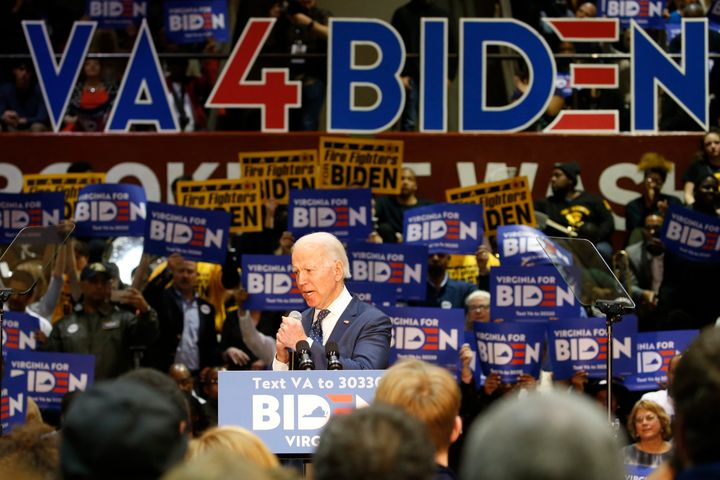 Democratic presidential candidate former Vice President Joe Biden, gestures during a campaign rally Sunday, March 1, 2020, in