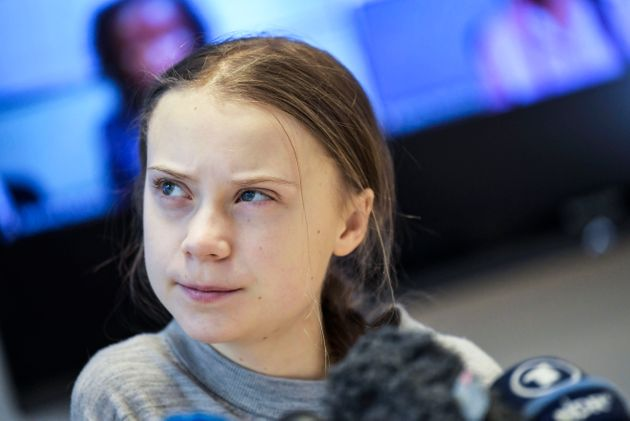 Swedish climate activist Greta Thunberg gives a press conference in Stockholm on Jan. 31,