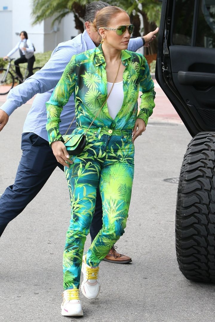 Jennifer Lopez heads to a family brunch on Saturday at Soho House in Miami Beach, Florida, wearing a casual look of her famou