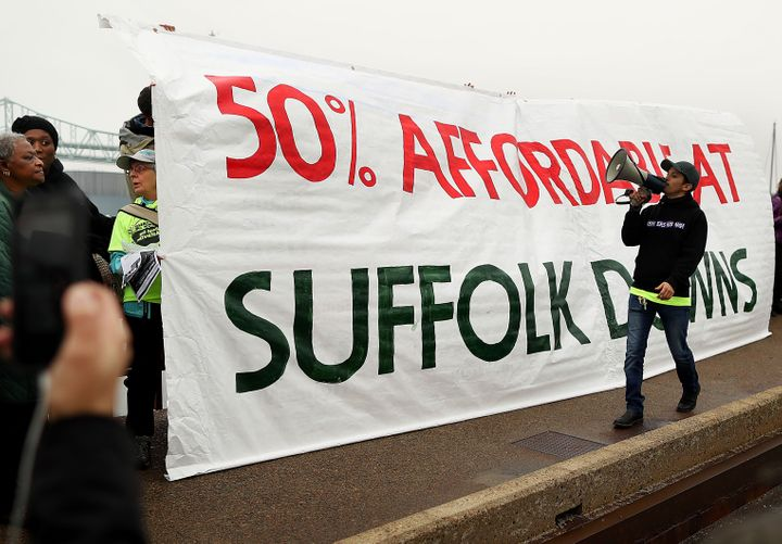 In December, community groups held a rally to demand more affordable housing in the Suffolk Downs redevelopment.