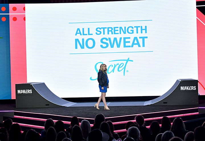 LOS ANGELES, CALIFORNIA - FEBRUARY 11: Associate Brand Director of P&G's Secret Deodorant Sara Saunders speaks onstage during
