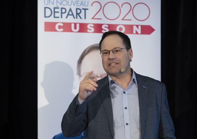 Alexandre Cusson lors du lancement de sa campagne, le 26 janvier
