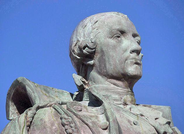 La statue d'Edward Cornwallis, avant son retrait d'un parc à Halifax, le 31 janvier