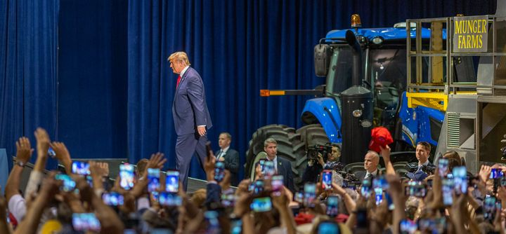 President Donald Trump at a rally with local farmers on Feb. 19, 2020, in Bakersfield, California.