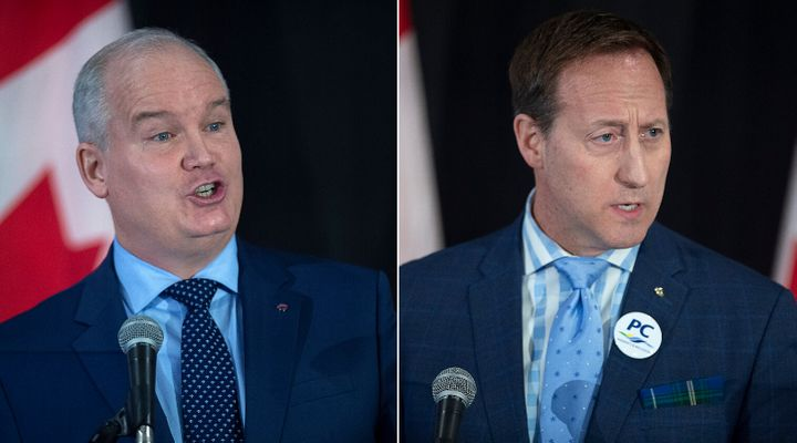 Tory leadership hopefuls Erin O'Toole and Peter MacKay are shown in a composite image of photos from The Canadian Press.